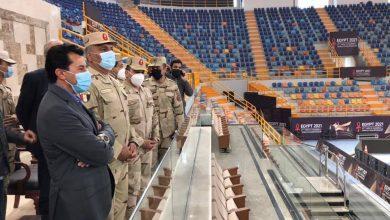 صورة وزير الرياضة يتفقد الاستعدادات النهائية بالصالة المغطاة بالعاصمة الادارية الجديدة