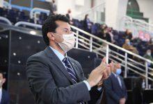 صورة وزير الرياضة يشهد مباريات مجموعة مصر في مونديال اليد