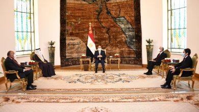 صورة الرئيس السيسي في لقاءه بالعسومي يؤكد دعم مصر الكامل للبرلمان العربي باعتباره منبر يتفاعل مع قضايا الشعوب العربية