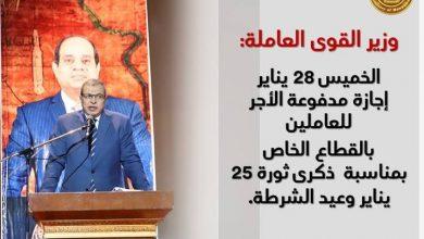 صورة سعفان: الخميس 28 يناير إجازة مدفوعة الأجر للعاملين بالقطاع الخاص بمناسبة  ذكرى ثورة 25 يناير وعيد الشرطة