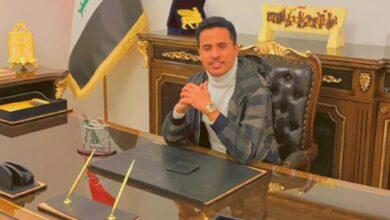 صورة رجل الأعمال العراقى أحمد الشويلى يلتقى لاعبين من المنتخب الوطني العراقي